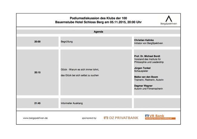 """Thema """"GLÜCK"""": Die nächste Veranstaltung mit Dagmar Wagner am 5.11.2015 im Hotel Schloss Berg um 19:30 Uhr!"""