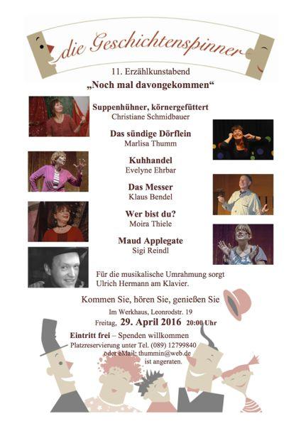 …die Geschichtenspinner am 29. April 2016 in München